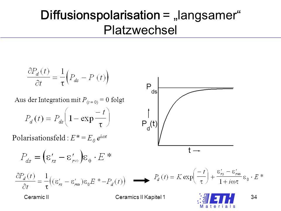 "Ceramic IICeramics II Kapitel 134 Diffusionspolarisation = ""langsamer Platzwechsel Aus der Integration mit P (t = 0) = 0 folgt Polarisationsfeld : E* = E 0 e i  t"