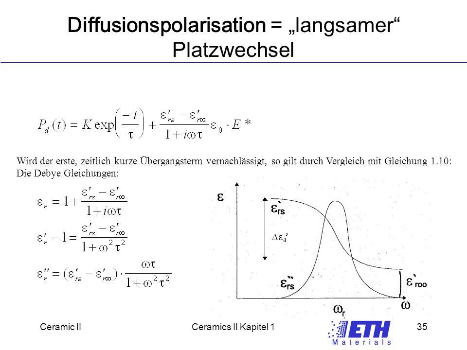 """Ceramic IICeramics II Kapitel 135 Diffusionspolarisation = """"langsamer Platzwechsel Wird der erste, zeitlich kurze Übergangsterm vernachlässigt, so gilt durch Vergleich mit Gleichung 1.10: Die Debye Gleichungen:"""