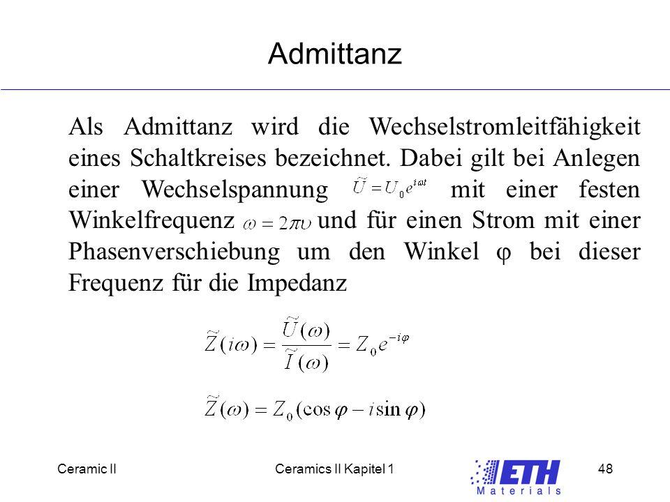 Ceramic IICeramics II Kapitel 148 Admittanz Als Admittanz wird die Wechselstromleitfähigkeit eines Schaltkreises bezeichnet.