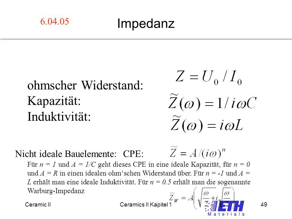 Ceramic IICeramics II Kapitel 149 Impedanz ohmscher Widerstand: Kapazität: Induktivität: Nicht ideale Bauelemente: CPE: Für n = 1 und A = 1/C geht dieses CPE in eine ideale Kapazität, für n = 0 und A = R in einen idealen ohm'schen Widerstand über.