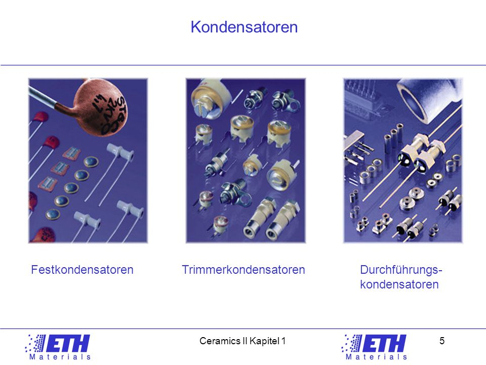 Ceramic IICeramics II Kapitel 15 Kondensatoren FestkondensatorenTrimmerkondensatorenDurchführungs- kondensatoren