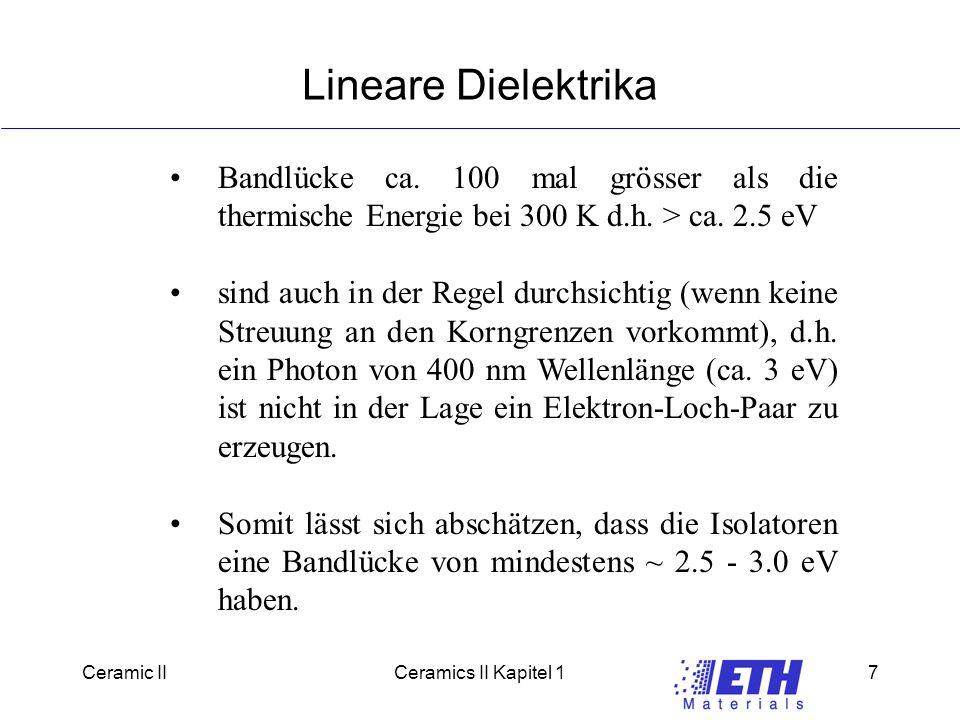 Ceramic IICeramics II Kapitel 17 Lineare Dielektrika Bandlücke ca.