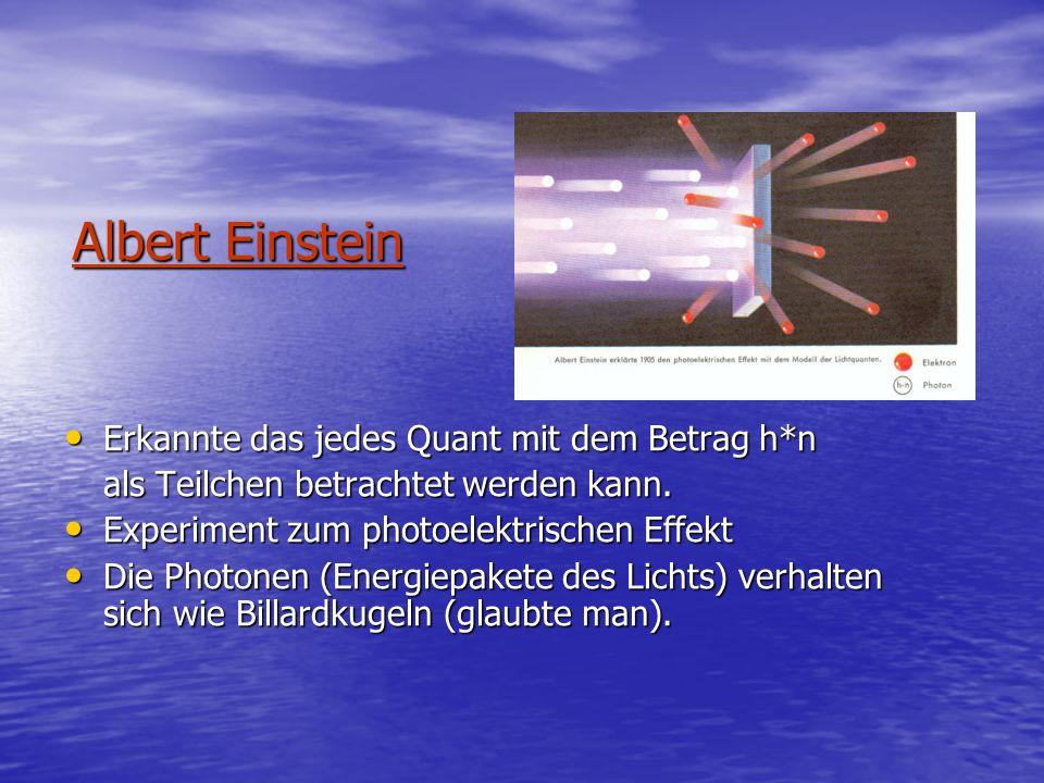 Albert Einstein Erkannte das jedes Quant mit dem Betrag h*n Erkannte das jedes Quant mit dem Betrag h*n als Teilchen betrachtet werden kann.