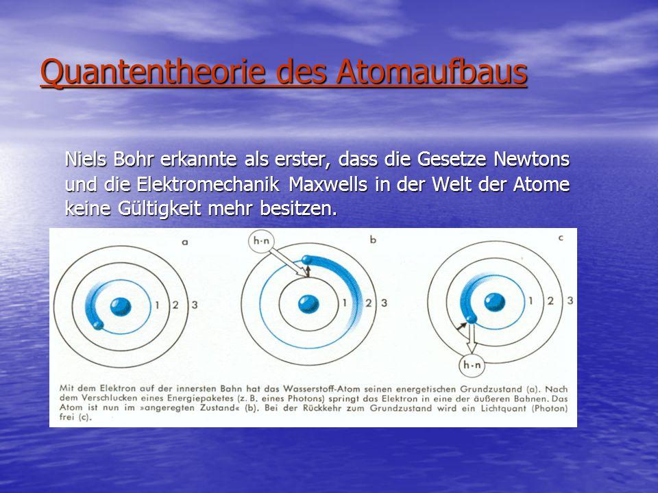 Quantentheorie des Atomaufbaus Niels Bohr erkannte als erster, dass die Gesetze Newtons und die Elektromechanik Maxwells in der Welt der Atome keine Gültigkeit mehr besitzen.