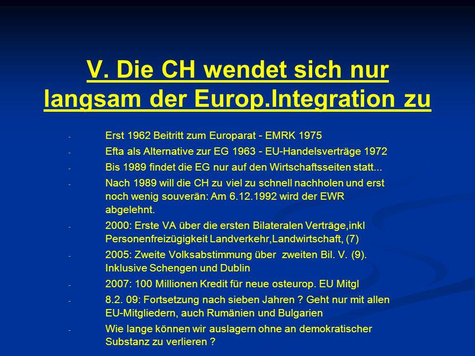V. Die CH wendet sich nur langsam der Europ.Integration zu - - Erst 1962 Beitritt zum Europarat - EMRK 1975 - - Efta als Alternative zur EG 1963 - EU-
