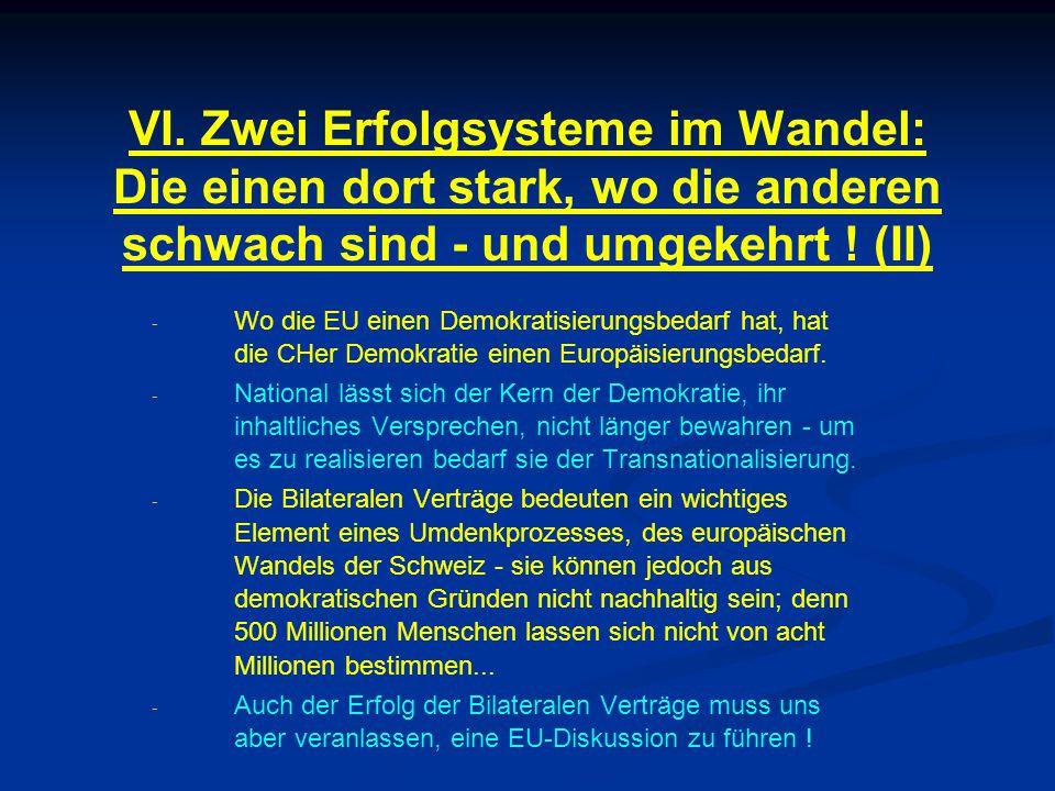 VI. Zwei Erfolgsysteme im Wandel: Die einen dort stark, wo die anderen schwach sind - und umgekehrt ! (II) - - Wo die EU einen Demokratisierungsbedarf