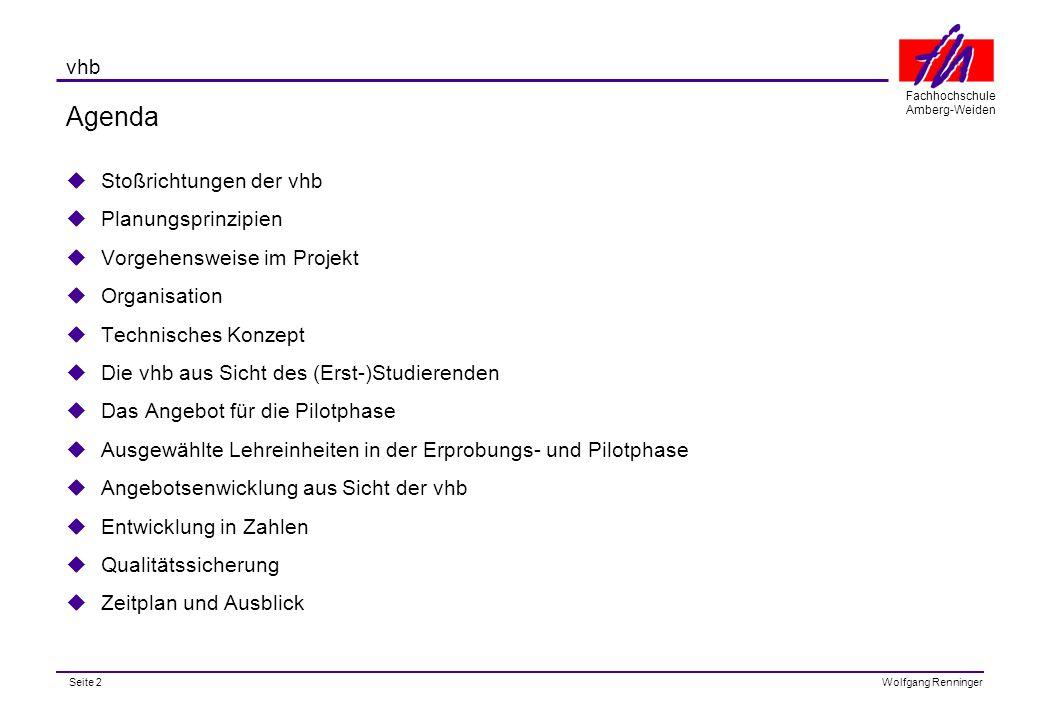 Seite 3 Fachhochschule Amberg-Weiden Wolfgang Renninger vhb entnommen aus: 'Hochschulentwicklung und neue Medien' Gütersloh 04.10.1999 MDirig.
