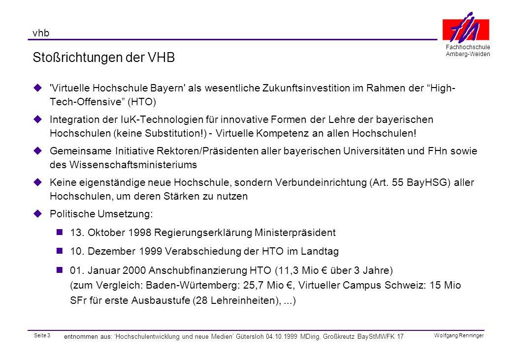 Seite 4 Fachhochschule Amberg-Weiden Wolfgang Renninger vhb entnommen aus: 'Hochschulentwicklung und neue Medien' Gütersloh 04.10.1999 MDirig.