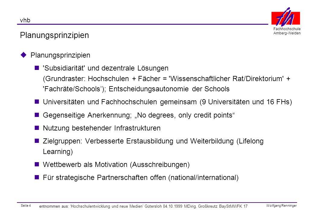 Seite 15 Fachhochschule Amberg-Weiden Wolfgang Renninger vhb entnommen aus: 'Hochschulentwicklung und neue Medien' Gütersloh 04.10.1999 MDirig.