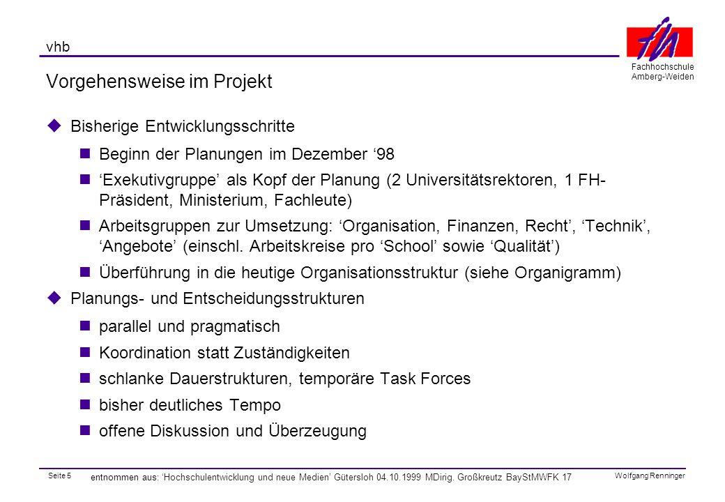 Seite 5 Fachhochschule Amberg-Weiden Wolfgang Renninger vhb entnommen aus: 'Hochschulentwicklung und neue Medien' Gütersloh 04.10.1999 MDirig.