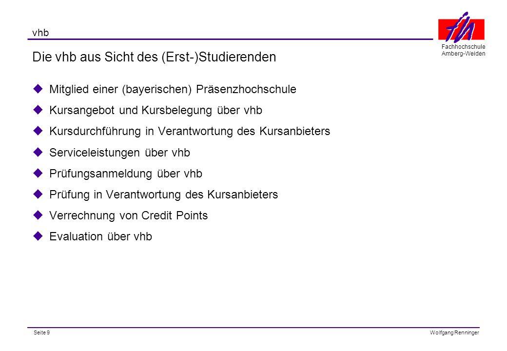Seite 10 Fachhochschule Amberg-Weiden Wolfgang Renninger vhb Das Angebot für die Pilotphase (SS 2000)  Angebot auf Module (< 1 SWS) und einzelne Kurse (ca.