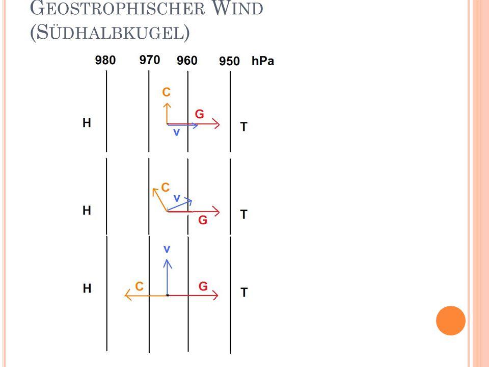 G EOSTROPHISCHER W IND (S ÜDHALBKUGEL )