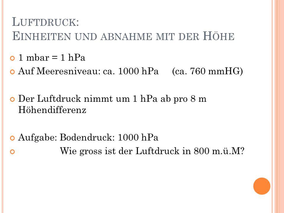 L UFTDRUCK : E INHEITEN UND ABNAHME MIT DER H ÖHE 1 mbar = 1 hPa Auf Meeresniveau: ca.