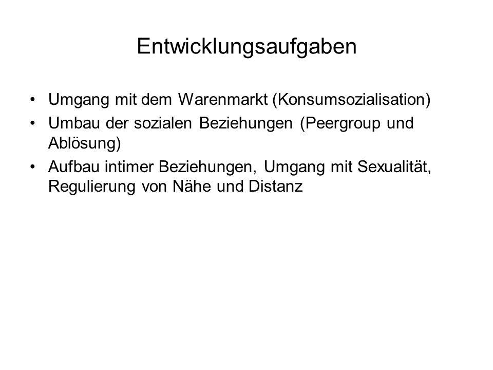 Entwicklungsaufgaben Umgang mit dem Warenmarkt (Konsumsozialisation) Umbau der sozialen Beziehungen (Peergroup und Ablösung) Aufbau intimer Beziehungen, Umgang mit Sexualität, Regulierung von Nähe und Distanz