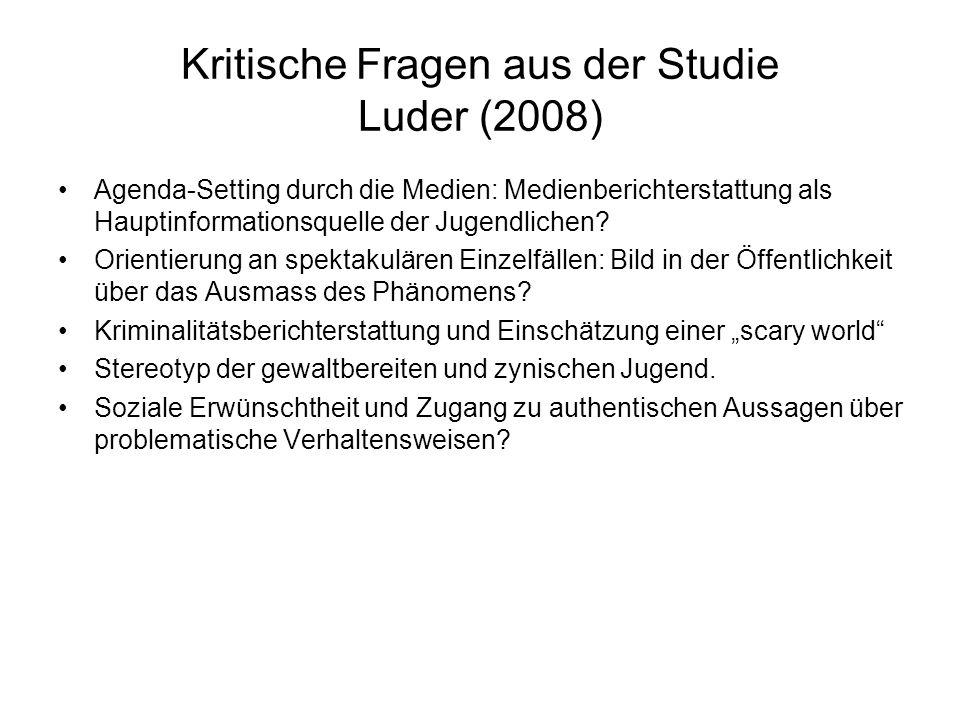 Kritische Fragen aus der Studie Luder (2008) Agenda-Setting durch die Medien: Medienberichterstattung als Hauptinformationsquelle der Jugendlichen.