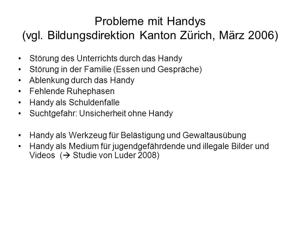 Verbreitung, Rezeption und Besitz von problematischen Inhalten auf Mobiltelefonen (Luder 2008) Aktuelle Liz.-Arbeit am IPMZ bei D.