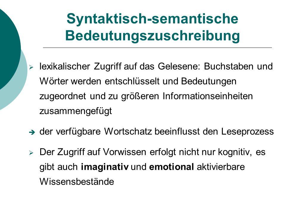 Syntaktisch-semantische Bedeutungszuschreibung  lexikalischer Zugriff auf das Gelesene: Buchstaben und Wörter werden entschlüsselt und Bedeutungen zu