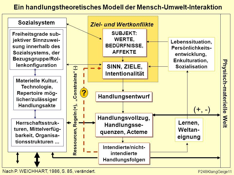 """Ein handlungstheoretisches Modell der Mensch-Umwelt-Interaktion Ressourcen, Regeln (+), """"Constraints (-) Ziel- und Wertkonflikte Nach P."""