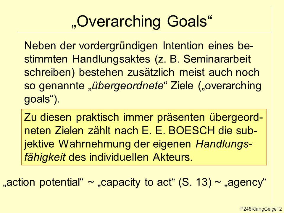 """P248KlangGeige12 """"Overarching Goals Neben der vordergründigen Intention eines be- stimmten Handlungsaktes (z."""