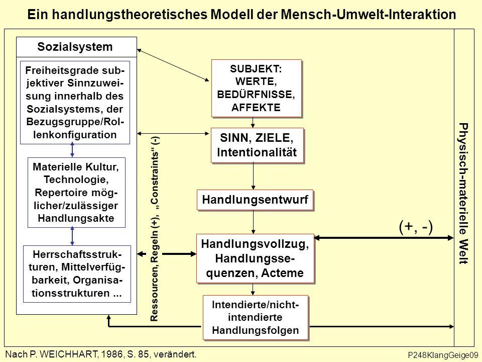 """Ressourcen, Regeln (+), """"Constraints (-) Ein handlungstheoretisches Modell der Mensch-Umwelt-Interaktion Nach P."""