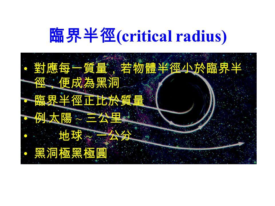 臨界半徑 (critical radius) 對應每一質量,若物體半徑小於臨界半 徑,便成為黑洞 臨界半徑正比於質量 例﹕太陽 ~ 三公里 地球 ~ 一公分 黑洞極黑極圓