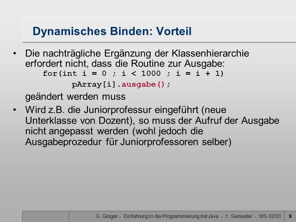 G. Gröger - Einführung in die Programmierung mit Java - 1. Semester - WS 02/039 Dynamisches Binden: Vorteil Die nachträgliche Ergänzung der Klassenhie