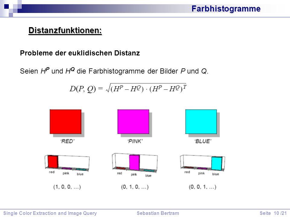 Farbhistogramme Distanzfunktionen: Probleme der euklidischen Distanz Seien H P und H Q die Farbhistogramme der Bilder P und Q.