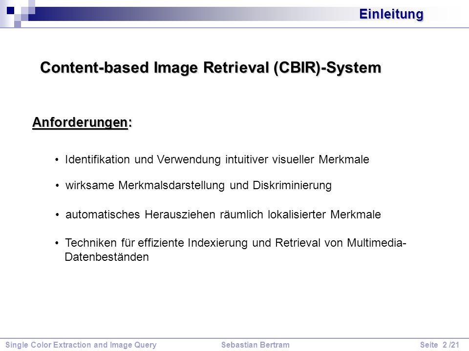 Single Color Extraction and Image Query Sebastian Bertram Seite 3 /21 Einleitung Ablaufdiagramm eines CBIR-Systems: