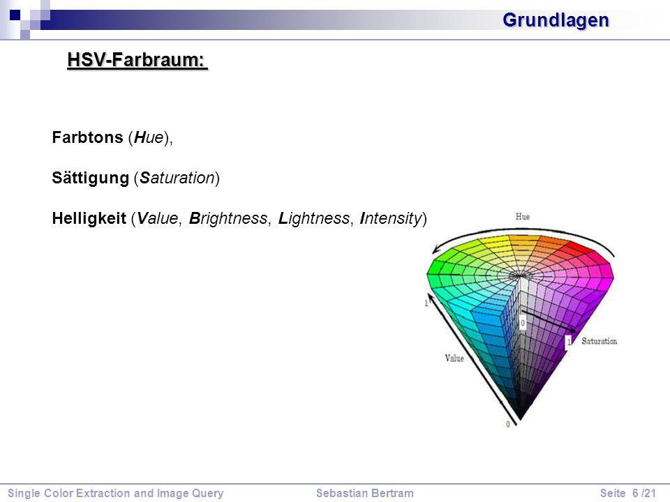 (1) Auswahl eines Farbraums, (2) Quantisierung des Farberaumes, (3) Berechnung der Histogramme, (4) Berechnung der Histogrammentfernungsfunktion, (5) Identifikation der Indexierungen Farbverteilung eines Bildes (auf Pixelbasis).