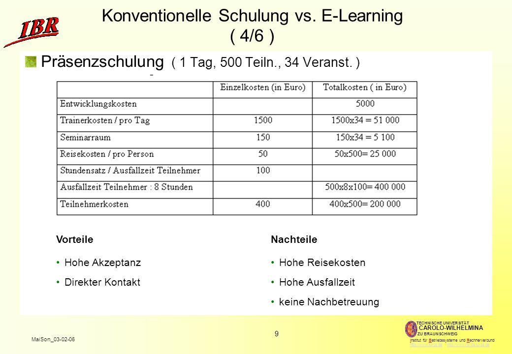 10 MaiSon_03-02-06 TECHNISCHE UNIVERSITÄT ZU BRAUNSCHWEIG CAROLO-WILHELMINA Institut für Betriebssysteme und Rechnerverbund http://www.tu-bs.de http://www.ibr.cs.tu-bs.dehttp://www.tu-bs.dehttp://www.ibr.cs.tu-bs.de Konventionelle Schulung vs.