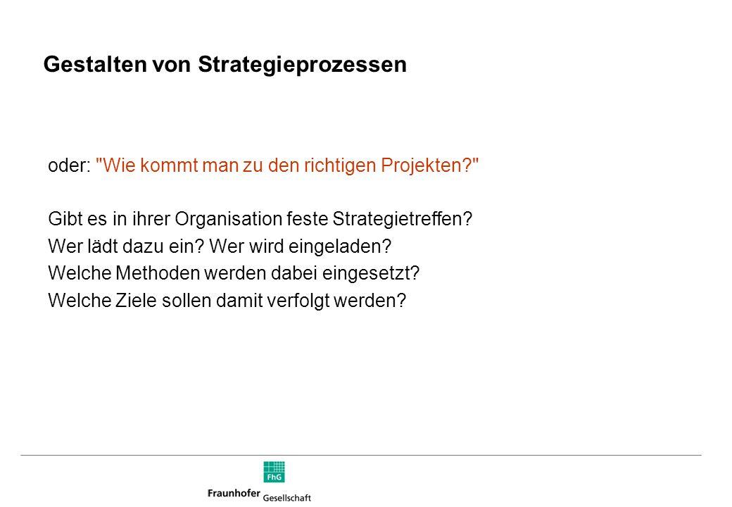 Gestalten von Strategieprozessen oder: Wie kommt man zu den richtigen Projekten? Gibt es in ihrer Organisation feste Strategietreffen.