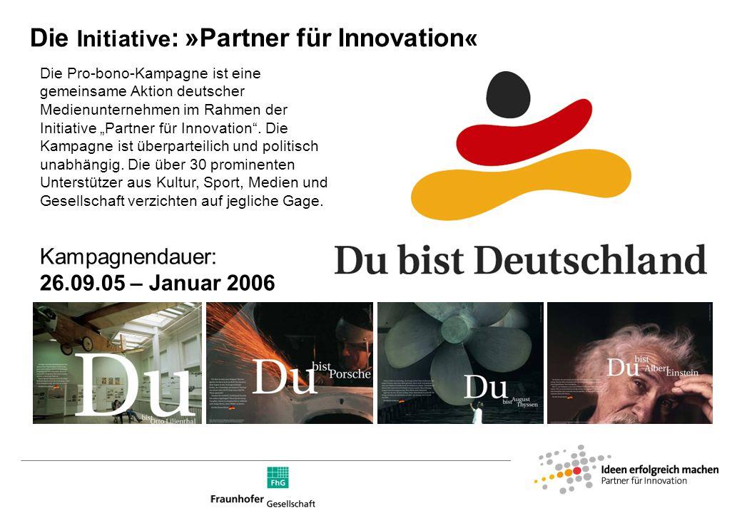 Die »Partner für Innovation« Die »Partner für Innovation« schaffen Beispiele für mutige Zielsetzungen und die konsequente Umsetzung von neuen, kreativen Lösungen.