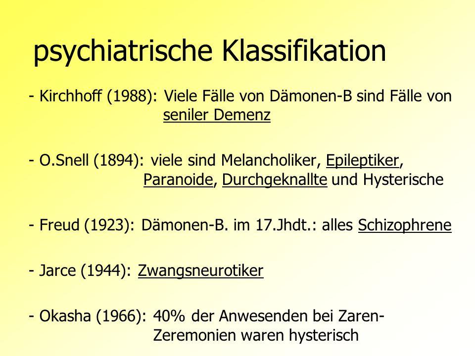 Besessenheit und Psychopathologie Dissoziations-Theorie: B-Syndrom = Offenbarung hysterischer Dissoziation, Ausdruck einer/s unterdrückten Konfliktsituation / Verlangen/s Kommunikationstheorie: B-Syndrom = Signal der Verzweiflung, um mit anderen zu kommunizieren, Verlangen nach Aufmerksamkeit, anderen Nutzen,...