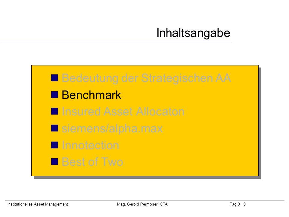 Tag 3 20Institutionelles Asset ManagementMag. Gerold Permoser, CFA Marktentwicklung 2000 bis heute