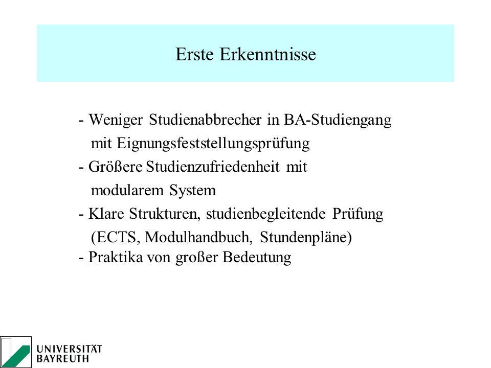 Erste Erkenntnisse - Weniger Studienabbrecher in BA-Studiengang mit Eignungsfeststellungsprüfung - Größere Studienzufriedenheit mit modularem System -
