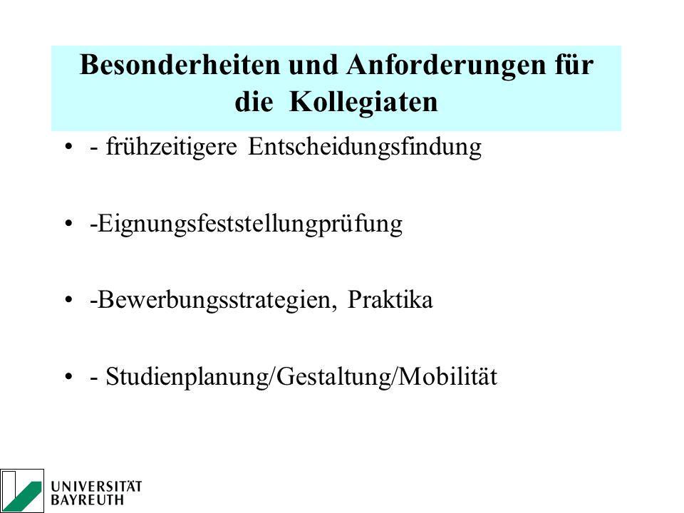 Besonderheiten und Anforderungen für die Kollegiaten - frühzeitigere Entscheidungsfindung -Eignungsfeststellungprüfung -Bewerbungsstrategien, Praktika