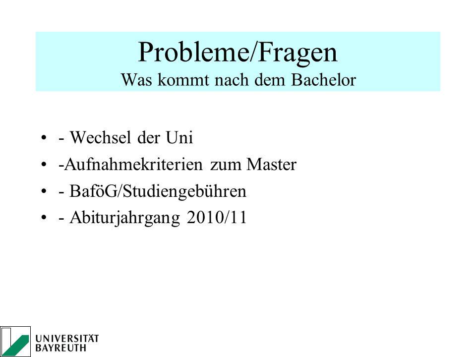 Probleme/Fragen Was kommt nach dem Bachelor - Wechsel der Uni -Aufnahmekriterien zum Master - BaföG/Studiengebühren - Abiturjahrgang 2010/11
