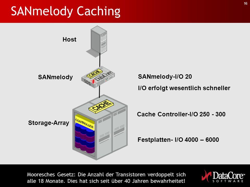 16 SANmelody Caching Host Storage-Array SANmelody Festplatten- I/O 4000 – 6000 Cache Controller-I/O 250 - 300 SANmelody-I/O 20 I/O erfolgt wesentlich