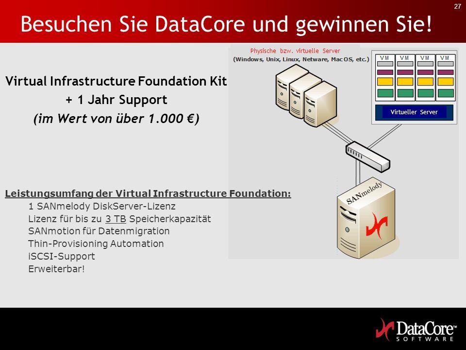 27 Leistungsumfang der Virtual Infrastructure Foundation: 1 SANmelody DiskServer-Lizenz Lizenz für bis zu 3 TB Speicherkapazität SANmotion für Datenmi