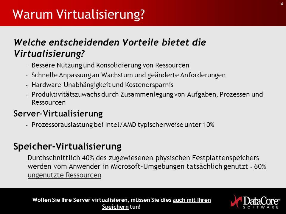 4 Warum Virtualisierung? Welche entscheidenden Vorteile bietet die Virtualisierung? - Bessere Nutzung und Konsolidierung von Ressourcen - Schnelle Anp