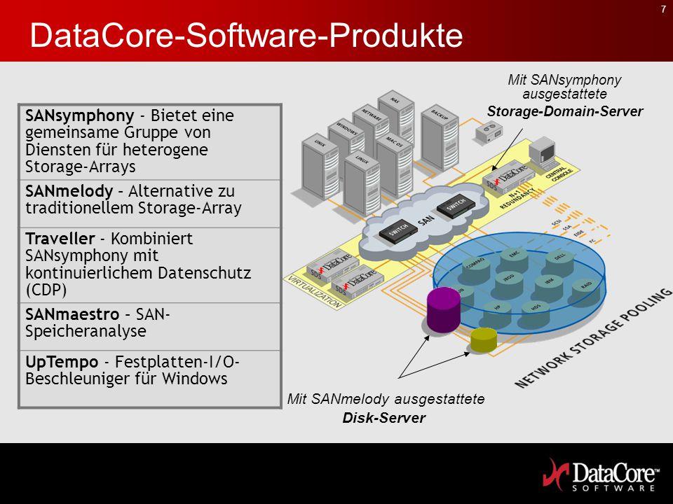 7 DataCore-Software-Produkte Mit SANsymphony ausgestattete Storage-Domain-Server Mit SANmelody ausgestattete Disk-Server SANsymphony - Bietet eine gem