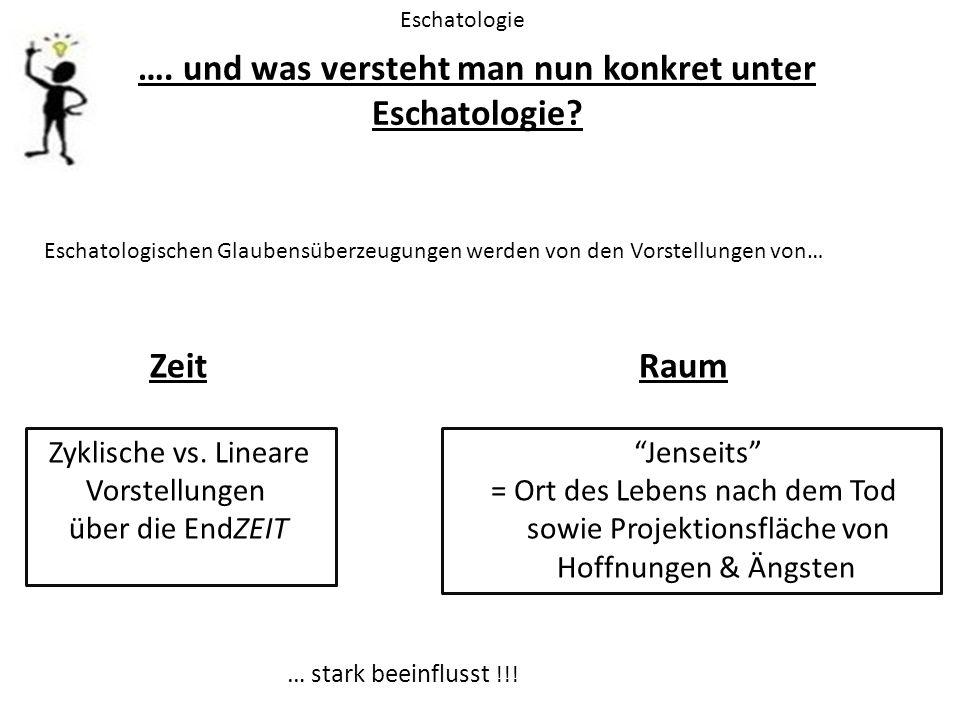 …. und was versteht man nun konkret unter Eschatologie? Eschatologie Eschatologischen Glaubensüberzeugungen werden von den Vorstellungen von… Zeit Zyk