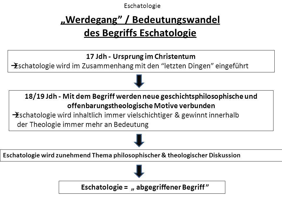 """"""" Werdegang"""" / Bedeutungswandel des Begriffs Eschatologie Eschatologie 17 Jdh - Ursprung im Christentum  Eschatologie wird im Zusammenhang mit den """"l"""