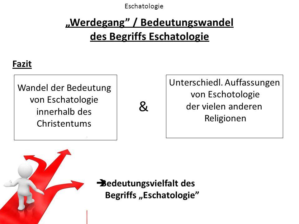 """""""Werdegang"""" / Bedeutungswandel des Begriffs Eschatologie Eschatologie Fazit Wandel der Bedeutung von Eschatologie innerhalb des Christentums Unterschi"""