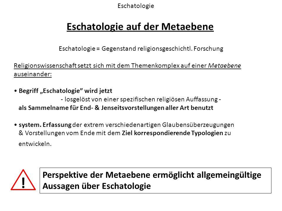 Eschatologie auf der Metaebene Eschatologie Eschatologie = Gegenstand religionsgeschichtl. Forschung Religionswissenschaft setzt sich mit dem Themenko