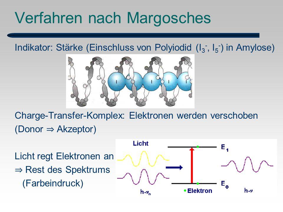 Verfahren nach Margosches Indikator: Stärke (Einschluss von Polyiodid (I 3 -, I 5 - ) in Amylose) Charge-Transfer-Komplex: Elektronen werden verschoben (Donor ⇒ Akzeptor) Licht regt Elektronen an ⇒ Rest des Spektrums (Farbeindruck)