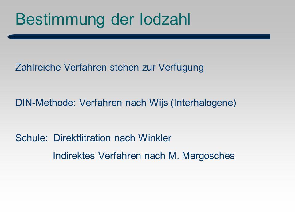 Bestimmung der Iodzahl Zahlreiche Verfahren stehen zur Verfügung DIN-Methode: Verfahren nach Wijs (Interhalogene) Schule: Direkttitration nach Winkler Indirektes Verfahren nach M.