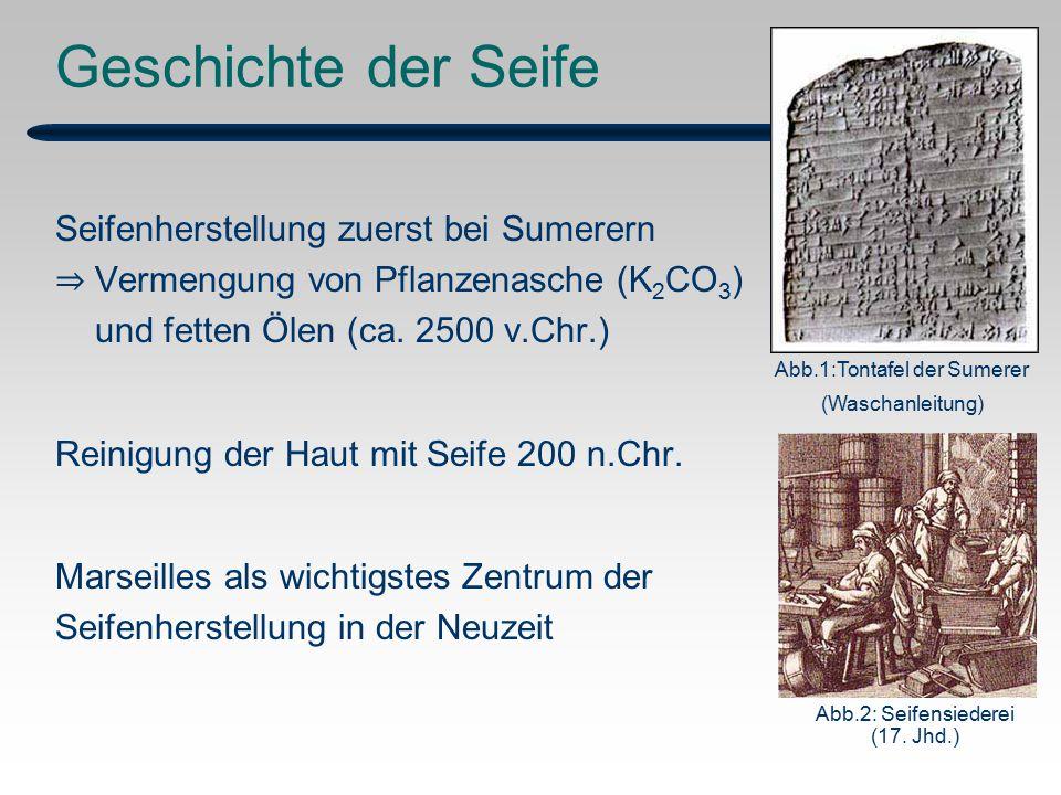 Geschichte der Seife Seifenherstellung zuerst bei Sumerern ⇒ Vermengung von Pflanzenasche (K 2 CO 3 ) und fetten Ölen (ca.