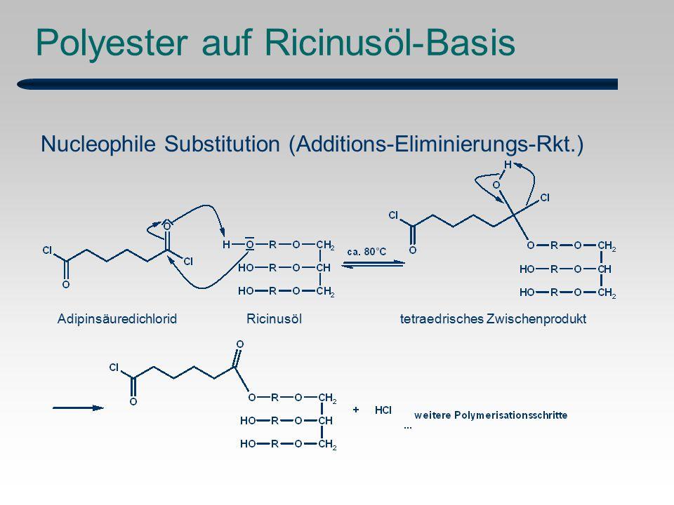 Polyester auf Ricinusöl-Basis Nucleophile Substitution (Additions-Eliminierungs-Rkt.) Adipinsäuredichlorid Ricinusöltetraedrisches Zwischenprodukt