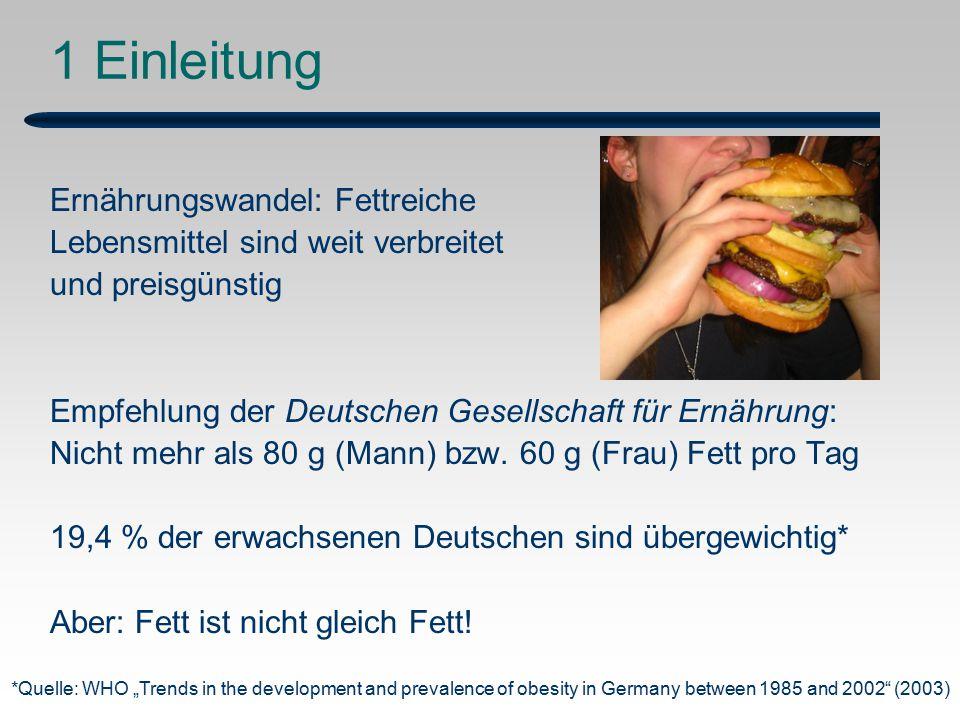 1 Einleitung Ernährungswandel: Fettreiche Lebensmittel sind weit verbreitet und preisgünstig Empfehlung der Deutschen Gesellschaft für Ernährung: Nicht mehr als 80 g (Mann) bzw.